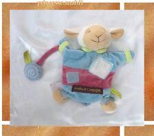 Doudou Marionnette Mouton Agneau ZIG ZAG Bleu Vert Rose Doudou Et Compagnie