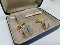 Vintage Set of Birks Cufflinks & Tie Bar -  Gold in color with Mother of Pearl