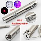3 in1 Mini USB Rechargeable LED Laser UV Torch Pen Multifunction Flashlight Lamp