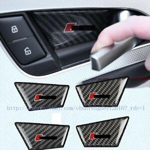 4PCS carbon fiber interior doorknob bowl SLINE-S series for Audi A6 2012-2018
