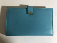 Vintage Lady Baronet Clutch Wallet Aqua Leather Mid Century Modern Notes