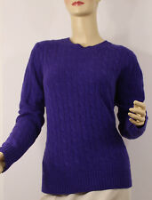 Ralph Lauren Polo Cashmere Cable Knit Sweater Womens XL Purple Crew Neck New