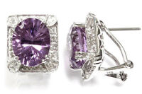 4.25 ct tw Natural Amethyst & Diamond Solid 14k White Gold Omega Back Earrings
