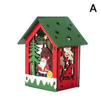 LED Light Wooden Dolls House Villa Christmas Ornaments Hanging Xmas w Decor U0P6