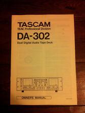 Tascam Teac DA-302 DAT original owner's manual - English