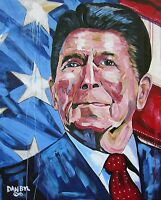 Ronald Reagan Patriotic Original Art PAINTING Artist DAN BYL USA President 4x5'