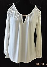 EMMA & OLIVE- IVORY OPEN SHOULDER W/ LACE TUNIC TOP- SZ M- NWT