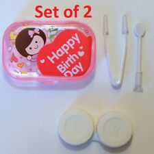 Set of 2 Happy Birthday Girl Pink Contact-Lens Travel Case Holder w/ Accessories