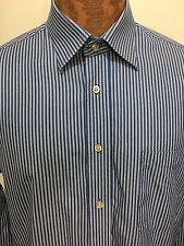 Peter Millar Blue White Striped Dress Shirt Cotton Long-Sleeve Mens 16 R