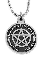 Black MASS Occult Satanic Pendant - Lucifer Seal & Sign of Satan Necklace Chain