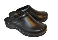 Men's wooden clogs, swedish - polish design, Black leather, size 8 UK / 42 EU
