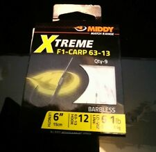 MIDDY XTREME F1 CARP 63-13 BARBLESS HOOKS TO NYLON 6 INCH