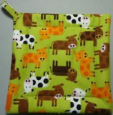 New listing Deluxe Hot Pad/ Pot Holder: Baby Cows: Green/ Brown/ Gold/ White/ Black: Quilted