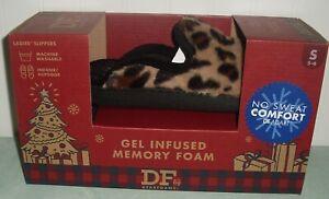 Dearfoams Gel Infused Memory Foam Slippers Ladies S 5-6 Leopard New NIB