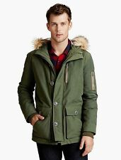 Lucky Brand Men's Holiday Parka Faux Fur-Trimmed Coat $249 Olive Green NEW L