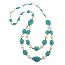 """Dyed Turquoise Howlite Oval White Shell 28""""Fancy Beaded Strand Bib OPFN-1145"""