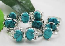 wholesale 10pcs Thick   Silver mixed turquoise rings Jewelry 6-10  Y175