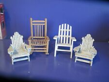 Dollhouse Miniature Furniture Wooden Chairs..lot of 4..lounge very cute!!