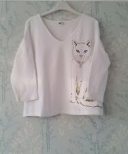 Together Ladies Size 18 White Cat Top Great Clean Condition