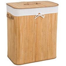Panier à linge corbeille en bambou bac à linge pliable 100L naturel 53x33,5x63cm