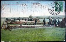 FRANCE~1913 CANNES - GARE ~ WWI ~ Manoevres de forteresse ~ SOLDIERS WITH CANNON