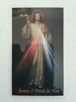 """DIVINE  MERCY         """"JESUS,  I TRUST  IN  YOU""""       HOLY  CARD  /  LAMINATED"""