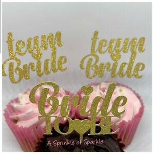 12 HEN PARTY CUPCAKE TOPPERS GOLD SILVER TEAM BRIDE BRIDE TO BE