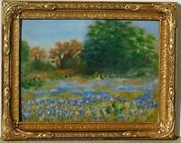 Vintage Texas Bluebonnets oil/board, 9 x 12, great vintage frame