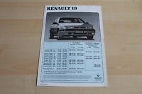 80492) Renault R 19 - Preise & Extras - Prospekt 06/1992