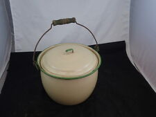 A Beautiful CREAM & Green Enamelware Pot with Lid! ! GREAT CONDITION!