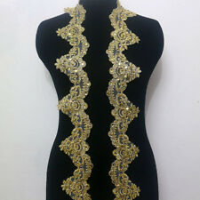 1 Yard Embroidery Corded Gold Metallic Beaded Sequins Lace Applique Wide 9 CM