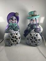 """Vintage Colorful Flocked Ceramic Mr & Mrs Snowman Christmas Figurine Statue 12"""""""