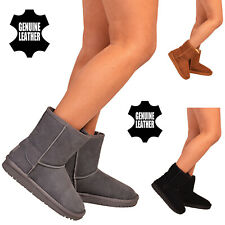 Womens Genuine Real Sheepskin Suede Winter Warm Fur Snow Boots Mid Calf Shoes SZ