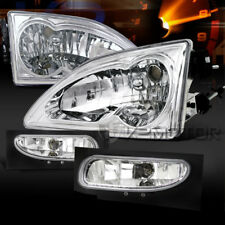 Fit Ford 94-98 Mustang Chrome Crystal Headlights+Clear Bumper Fog Lamps