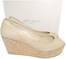 Jimmy Choo 'parley' Nude Patent Leather Open Toe Cork Wedge Pump Sandal 39- 8