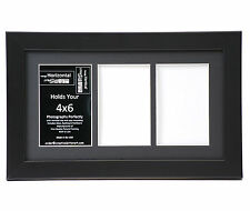 3 Opening Glass Face 8x14 Black Picture Frame Holds 4x6 Media Black Collage Mat