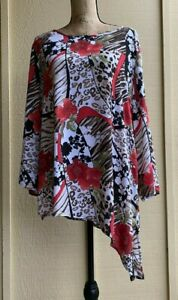 Chico's Womens Size 3  Asymmetrical Tunic Long Sleeve Scoop Neck