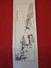 rouleau,encre de chine, peinture traditionnelle sur soie. Pêcheur. Chine