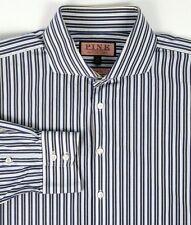 Thomas Pink Mens Dress Shirt Size 17.5 44cm Slim Fit Blue Stripes Spread Collar