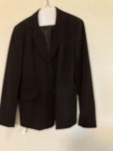 Focus 2000 women's chocolate brown suit jacket skirt size 10 career