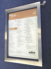 More details for high quality a2 outdoor stainless steel menu display case with led lighting.