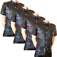 Men's Real Sheep Leather Cow Police Shirts Uniform Full Sleeve T-Shirt BLUF Gay