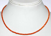 925 Sterling Silver Orange Zircon Gemstone Round Cut Beads Fine Jewelry Necklace