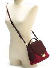 $398 Kate Spade Red Plum Bordeaux Keran Miro Street Calfhair fur Leather Satchel