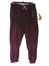 Faze 1 Mens Size Large Burgundy Black & Red Striped Skinny Jogger Pants New