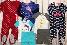 Lot Girls Fleece Sleepers Carters Hello Kitty Pajamas Fall Winter Size 4T