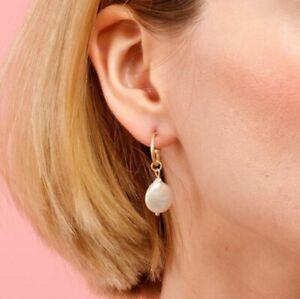 Natural Baroque Irregular Pearl Gems Rose Gold Plated Hook Dangle Earrings Women