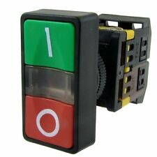 """1 PC RED/GREEN """" SQUARED """" POWER START/STOP WITH INDICATOR LIGHT 220-240 BULB"""