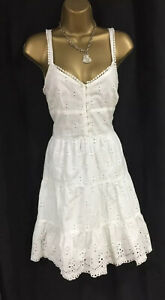 Lipsy Sexy Skater Dress 12 UK Cream White Broderie Anglaise Button Spring Summer