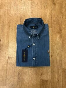 Ralph Lauren Men's Denim Shirt - Slim Fit - Size Small - Light Wash Denim